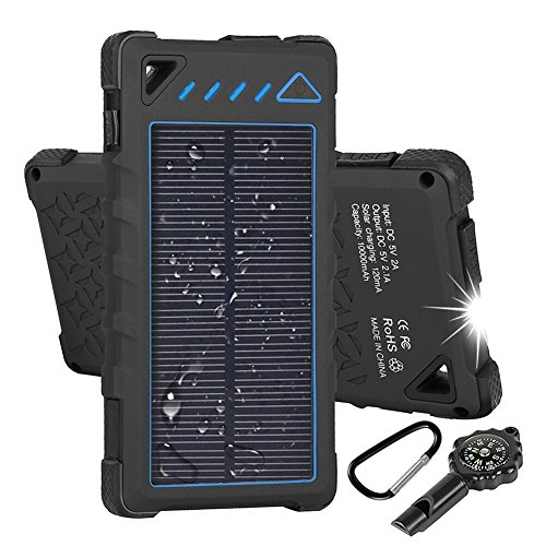 Hobest Solar Charger 10000mAh,Waterproof Outdoor Solar Power Bank with LED Flashlight,Dual USB Portable Charger Solar for Smartphones,GoPro Camera,GPS and Emergency Travel (Blue)
