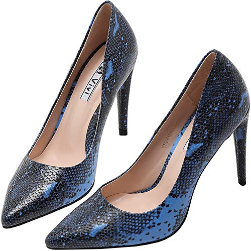 vivianly Fashion High Heel Pointed Blue and Black Slip on Snakeskin Dress Shoes for Women Size 9