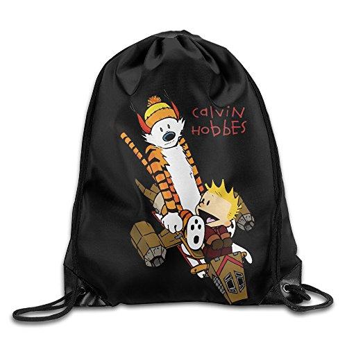 (Comic Strip Calvin And Hobbes Sport Backpack Drawstring Print Bag )