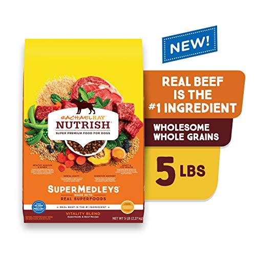Rachael Ray Nutrish SuperMedleys Vitality Blend Premium Dry Dog Food with Beef, Salmon & Superfoods, 5-Pound Bag