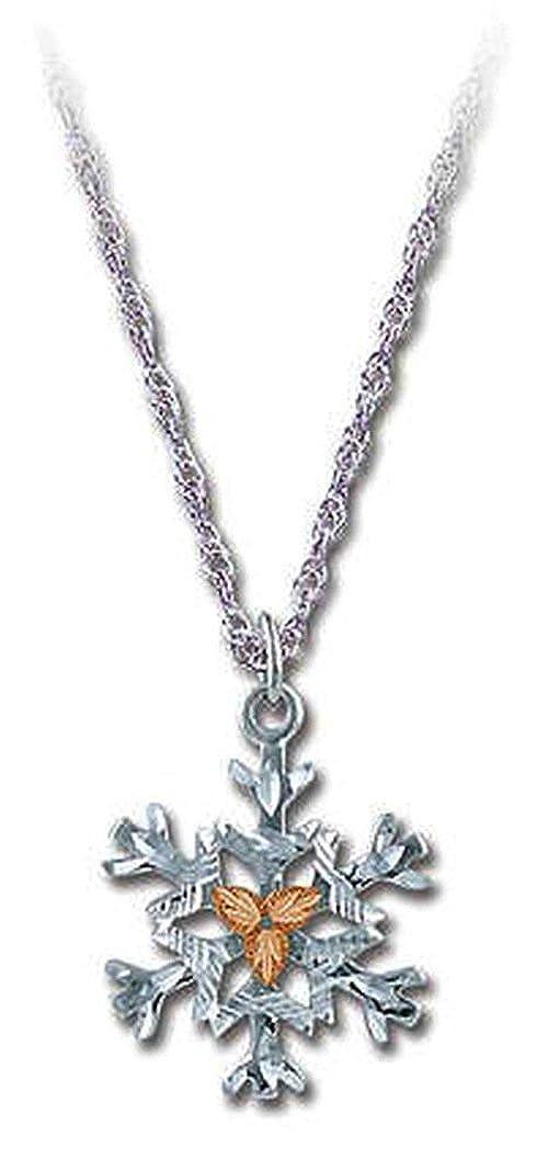 18 MRLPE972 12k Black Hills Gold Leaves Landstroms Sterling Silver Snowflake Pendant Necklace