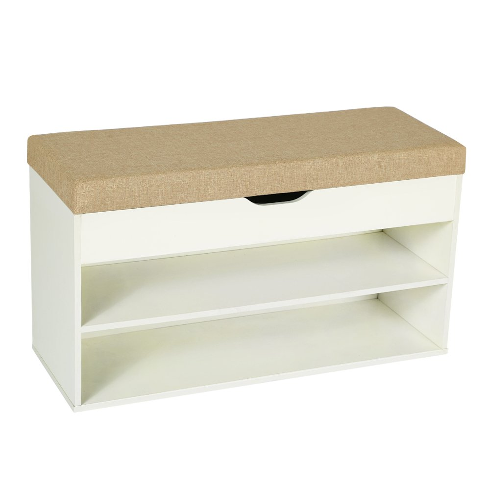 HOME BI Shoe Bench with Storage Box, Wood Shoe Cabinet with Soft Cushion Seat, Perfect for Entryway, Hallway and Bathroom