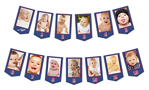 First Birthday Month Photo Banner | Baseball Newborn 1 to 12 Monthly Photo Picture Display Garland, Baby 1st Bday Wall Decoration ()
