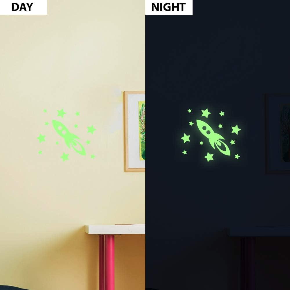 55 x 10 cm Ambiance Sticker roquette et /étoiles phosphorescents