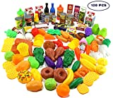 Play Food Set - 120 PCS Deluxe Pretend Food Set for Kids - Educational Kids Kitchen Toys - Big Toy Food Assortment Play Kitchen Accessories - Complete Toy Grocery Supermarket Fake Food Set