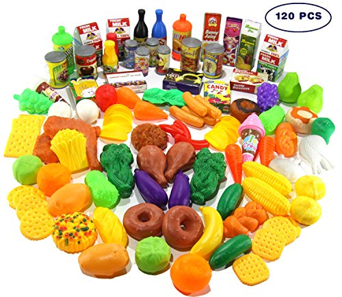 Play Food Set - 120 PCS Deluxe Pretend Food Set for Kids - Educational Kids Kitchen Toys - Big Toy Food Assortment Play Kitchen Accessories - Complete Toy Grocery Supermarket Fake Food Set by ToyZstreet Store
