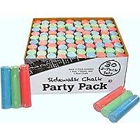 Chalk City - Party Pack Sidewalk Chalk 30 Jumbo 3 -Pack Sets of MultiColor Sidewalk Chalk for Party Favors (90 Chalks Total)