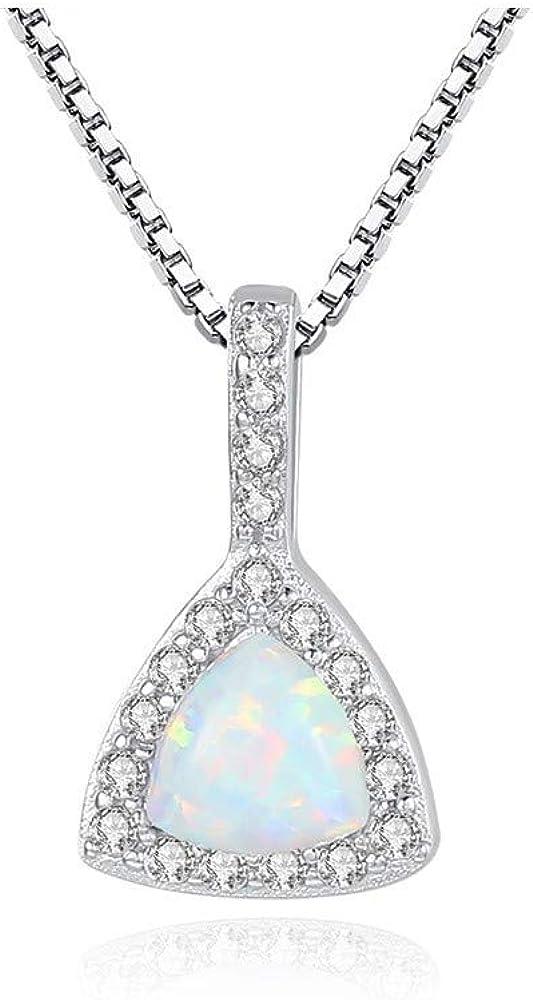 MXWY Collar Triángulo De Piedras Preciosas Australianas S925 con Incrustaciones De Accesorios De Zircon 3A para Mujer