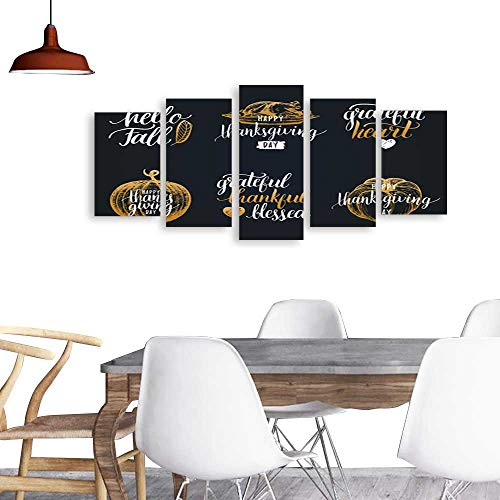 UHOO Paintings Combination Decorative FramelessVector Thanksgiving Lettering with Sketches for Invitations Greeting Cards Calligraphy Set Grateful Thankful Blessed etc1. Living Room, -