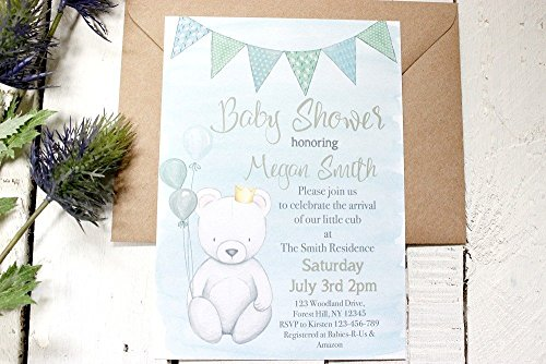 Teddy Bear Baby Shower Invitations, Boy Baby Shower Invites, Blue Baby Shower Invitations