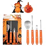 Halloween Pumpkin Carving Kit Tools Premium 4 Piece Stainless Steel Pumpkin Carving Knives Set (Scoop,Poker,Saws,Etching tool)