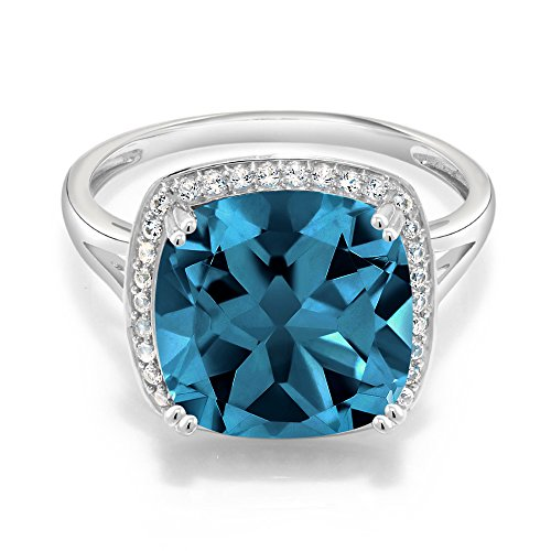 Gem Stone King 10K White Gold London Blue Topaz and White Diamond Women's Ring (8.54 Cttw Gemstone Birthstone Available 5,6,7,8,9) (Size 8)
