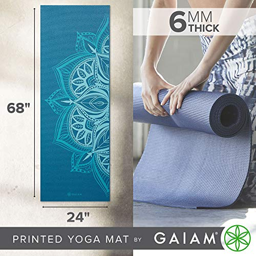 """Gaiam Yoga Mat - Premium 6mm Print Extra Thick Non Slip Exercise & Fitness Mat for All Types of Yoga, Pilates & Floor Workouts (68""""L x 24""""W x 6mm Thick)"""