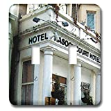 3dRose Jos Fauxtographee- London Watercolor Hotel - The Rasool Hotel in London done in a watercolor effect - Light Switch Covers - double toggle switch (lsp_291340_2)
