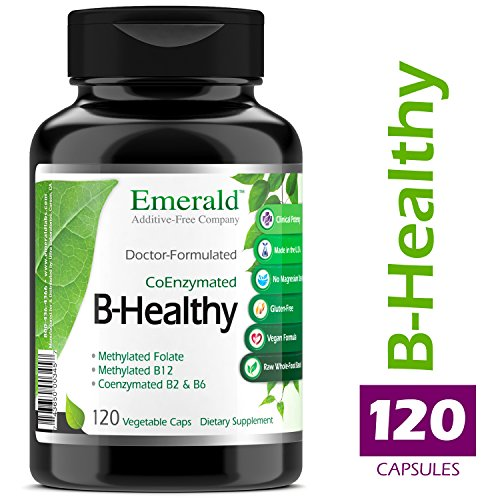 Maxi B-complex Vitamins (B Healthy - with L-5 Methyltetrahydrofolate (5-MTHF) Coenzymated Folic Acid - Helps Improve Energy, Lower Stress, Fatigue, & Healthy Immune System - Emerald Laboratories - 120 Vegetable Capsules)