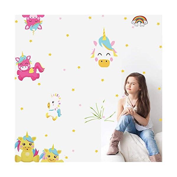 Arttop Unicorn Wall Sticker Baby Nursery Unicorn Wall Decal Rainbow Wall Stickers Star Wall Decal Nursery Wall Decor 4