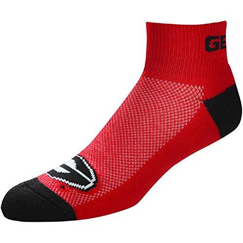 For Bare Feet NCAA Men's Cuff Team Logo Quarter-Length Socks-Georgia (13 Team Logo Ankle Socks)