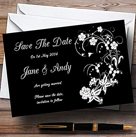 Black White Floral Personalized Wedding Save The Date Cards