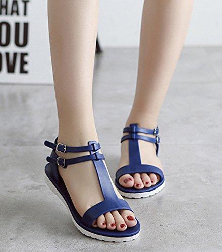 Minetom Mujeres Verano Casual Zapatos Dulce Peep Toe T-Correa Cleated Redondas Sandalias Jalea Playa Zapatillas Azul