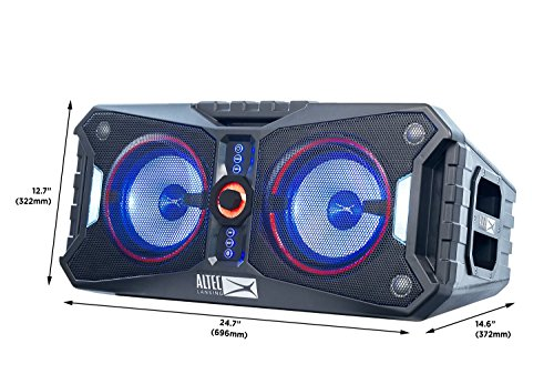 5170gwzcAXL - Altec Lansing ALP-XP800 XPEDITION 8 Portable Waterproof Wireless Bluetooth Indoor or Outdoor Speaker with Multi-Colored LED Light Show, Stereo Pairing, Everything Proof