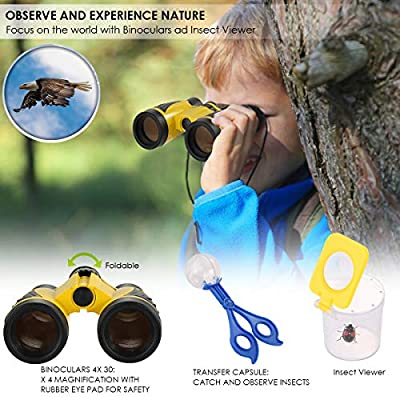 oenbopo 20 PCS Kids Outdoor Explorer Set with Binoculars Compass Whistle Magnifying Glass Bug Catcher for Adventure Fishing Hiking: Toys & Games