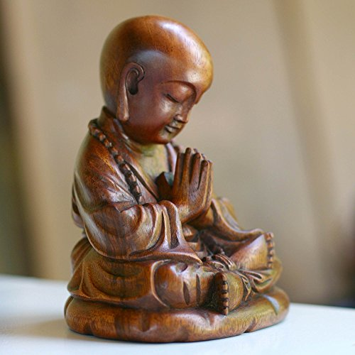 NOVICA Hand Carved Natural Suar Wood Religious Buddhist Sculpture from Indonesia 'Little Buddha Praying' by NOVICA (Image #1)