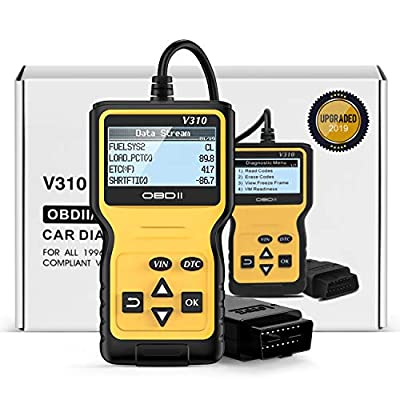 FYSMY OBD2 Scanner,Enhanced OBD II Automotive Engine Fault Code Reader Diagnostic Scan Tool Vehicle Trouble Codes Analyzer CAN Scan Tool for OBDII Protocol Cars Since 1996 (Yellow): Automotive