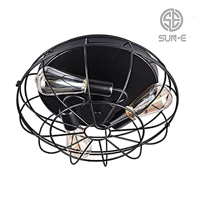 SUN-E 15 Inch Industrial Vintage Home Decor Retro Light Flush Mount Ceiling Light Metal Hanging Fixture lighting With 3 Lights use E26 Bulb