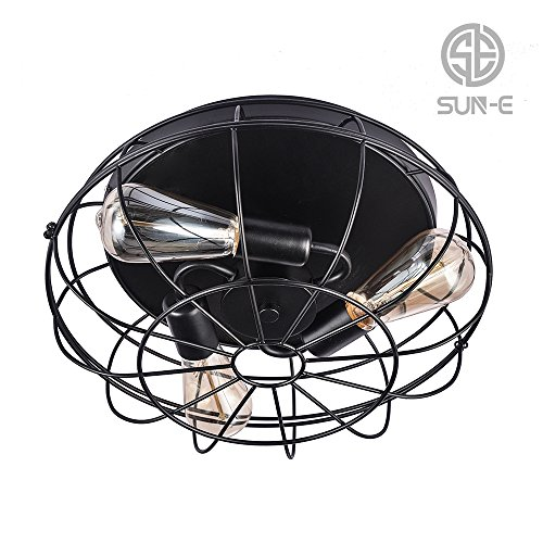 SUN-E 15 Inch Industrial Vintage Home Decor Retro Light Flush Mount Ceiling Light Metal Hanging Fixture lighting With 3 Lights use E26 (Retro Flush)