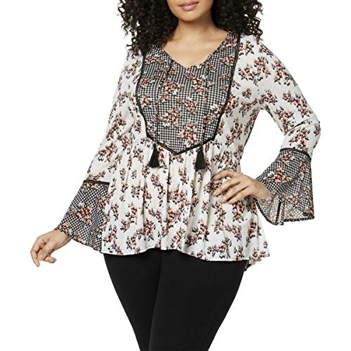 (Style & Co. Womens Plus Floral Print Bell Sleeves Blouse Black-Ivory 1X)