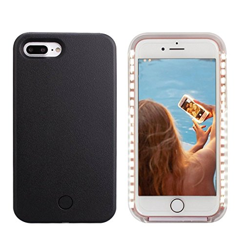iPhone 8 Plus Led Case - Avkkey iPhone 8 Plus Selfie Light iPhone Case Great for a Bright Selfie and Facetime Illuminated Light Up Case Cover for iPhone 7 Plus 5.5'' - Black]()