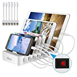 Allcaca Charging Station 6 Ports for iPhone XS Max XR Ipad Kindle Amazon Fire Tablet and All Android Devices, 6 USB Cable 25CM Included, White