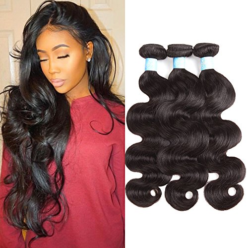 BLY Hair 8A Brazilian Virgin Human Hair Body Wave 12 14 16inch 3 Bundles Weave 100% Unprocessed Human Hair Wavy Extensions Weft Natural Black 300g Total (Best Hairspray For Indian Hair)