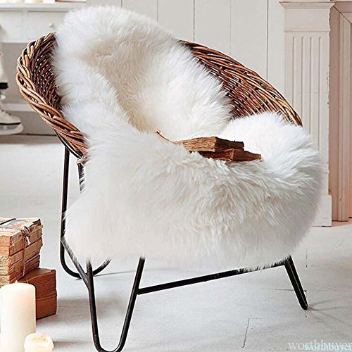 Easyhousehome Luxury room Soft Faux Sheepskin Chair Cover Seat Cushion Pad Plush Bedroom carpet Mat(3ft2ft) (White)