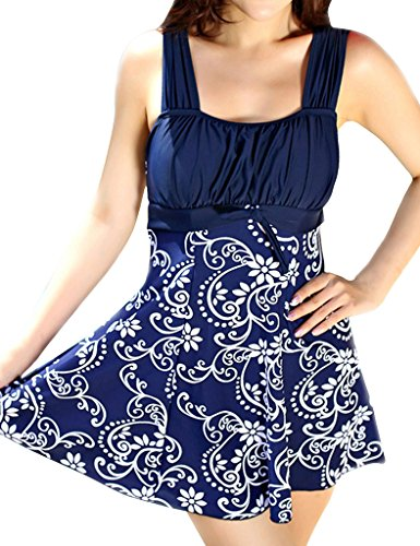 Wantdo Women's Sandy Beach Wear Dress Swimming Costume Over Size Swimsuit Dress,Porcelain/L