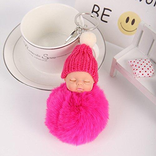 Bluelans aus Plüsch Fell Ball Pom Pom niedliche Schlafendes Baby Handtasche Charm Auto Schlüsselanhänger, grau, 8cm/3.15 rosarot