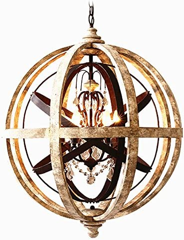 3-Light Chandelier Weathered Wooden Globe Metal Crystal Ornaments Ceilling Light