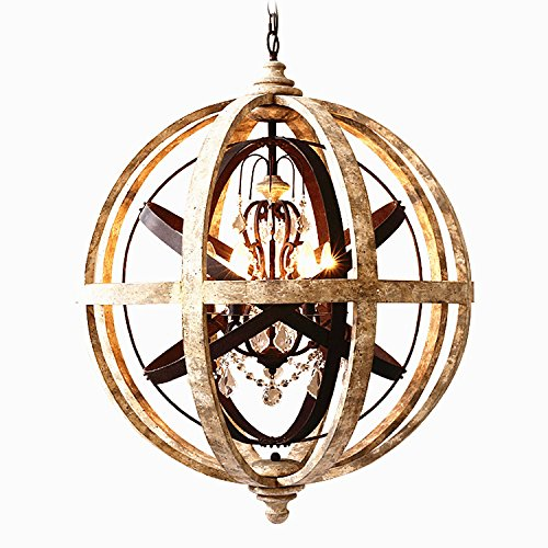 KunMai Rustic Retro Weathered Wooden Globe Metal Orb Crystal 5-Light Chandelier Candle Style Pendant Light for Kitchen Island Entry Area Living Room For Sale