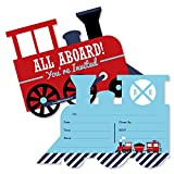 Railroad Party Crossing - Shaped Fill-in Invitations - Steam Train Birthday Party or Baby Shower Invitation Cards with Envelopes - Set of 12