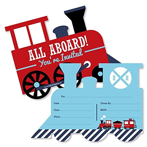 Railroad Party Crossing - Shaped Fill-in Invitations - Steam Train Birthday Party or Baby Shower Invitation Cards with Envelopes - Set of 12]()