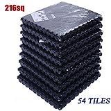 Black , 54 Tiles 216 Sq Ft Interlocking EVA Foam Floor Mat Flooring Gym Playground