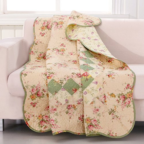 Cotton Throw Floral Quilt - Greenland Home Bliss Ivory Quilted Patchwork Throw