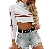 HHei_K Womens Trendy Sexy Zipper Turtleneck Dropped Shoulder Striped Long Sleeve Chic Crop Top Sweatshirt