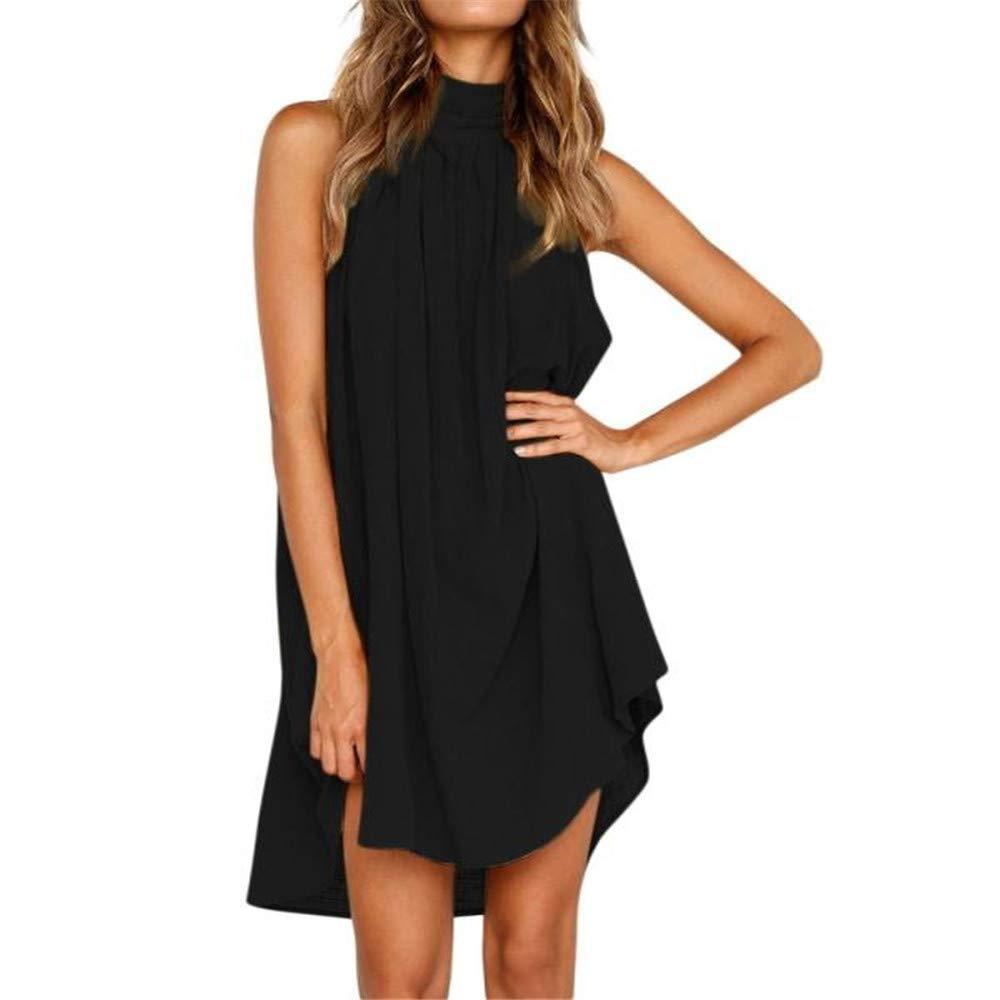 OSYARD Damen Vestkleid Casual Loose Sommerkleid Ärmellos Longshirt Tanktops, Frauen Strandkleid Unregelmäßigen Hem Minikleid Partykleid A-Linie Dress