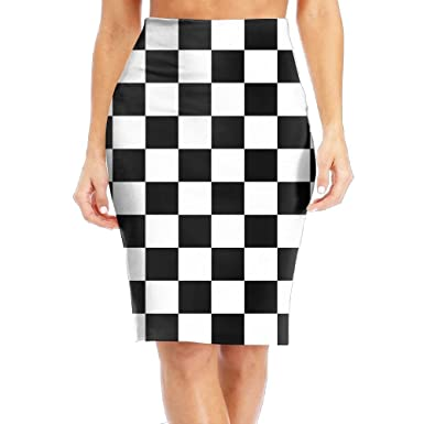 73771c6c3e TO-JP Women's Classic Checkered Flag Long Pencil Skirt Knee Length Dress at  Amazon Women's Clothing store: