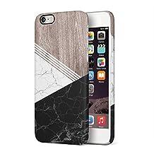 White & Black Cracked Marble & Oak Wood Blocks Hard Plastic Phone Case For iPhone 6 & iPhone 6s