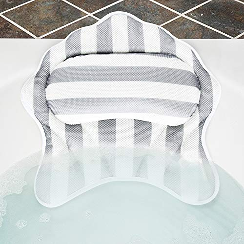 Bath Pillow with 6 Suction Cups Bath Neck Pillow 3D Mesh Spa Bath Pillow for Tub