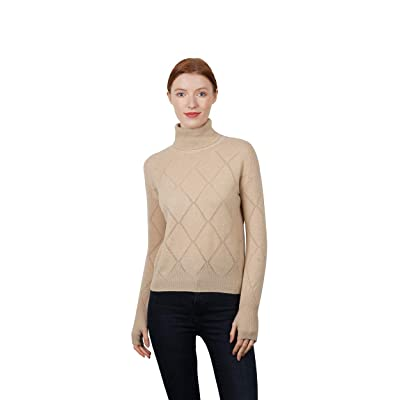 HUTOBI Women's 100% Pure Cashmere Oversize Boxy Turtlneck Sweater with Pointelle Details at Women's Clothing store
