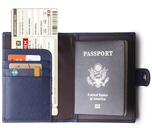 Borgasets Leather Rfid Blocking Us Passport Holder Cover Id Card Wallet   Travel Case Blue