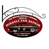 Miracle car repair double sided oval metal sign with wall mount bust112